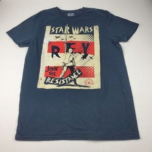 Star Wars Rey Join the Resistance Poster Tee Sz M